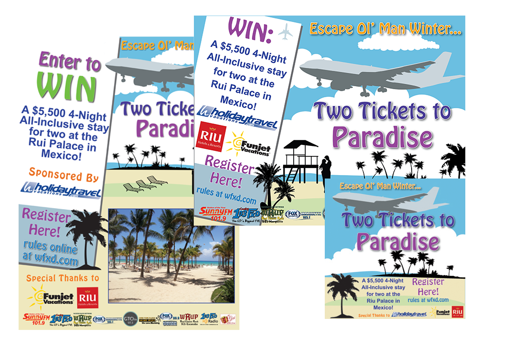 The Two Tickets to Paradise Poster, Bucket Image and Web Banner.