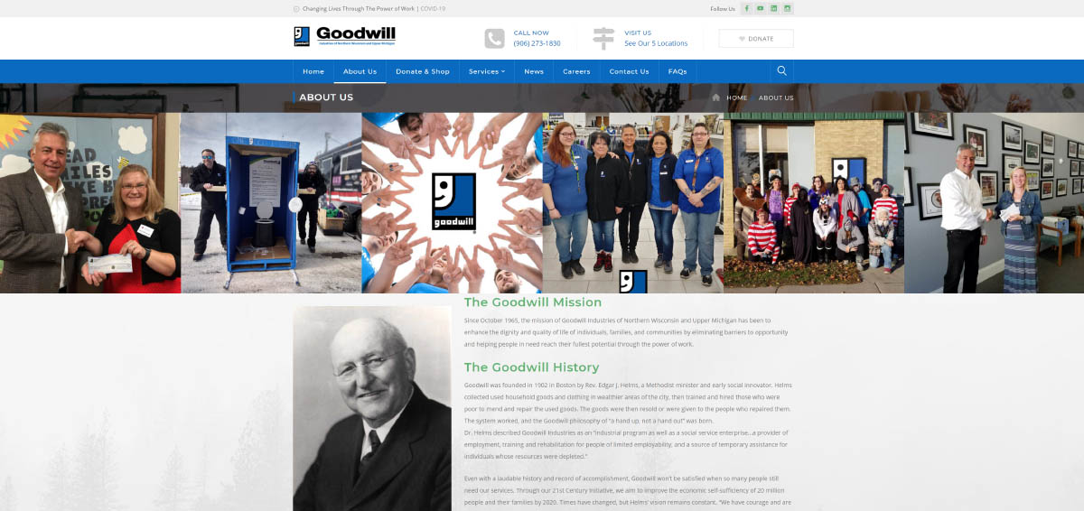 Goodwill About Page After Rebuild