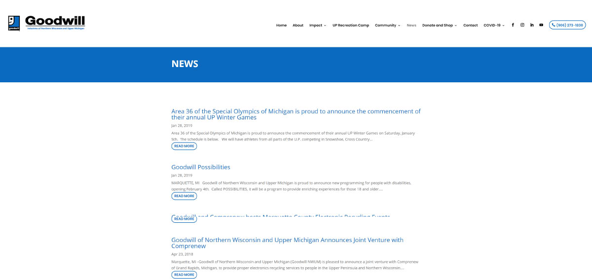 Goodwill Company News Page Before Rebuild