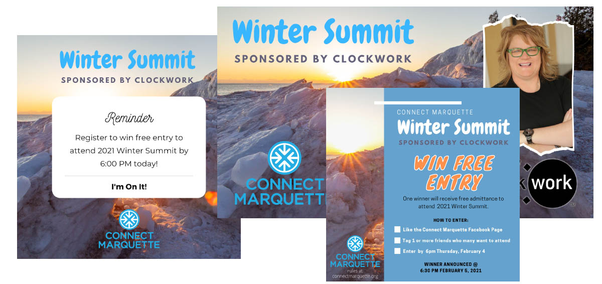 Some of the many marketing materials generated for the 2021 Winter Summit
