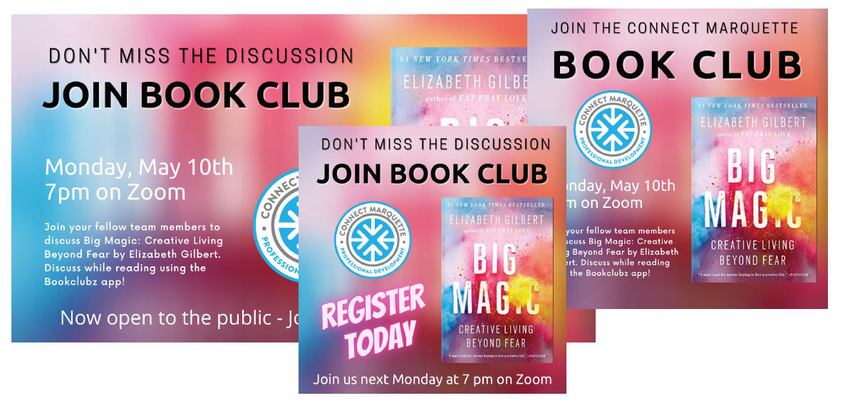 Connect Marquette May Book Club Announcement Designs
