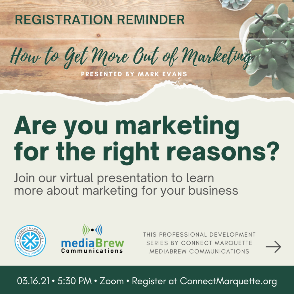 Connect Marquette Marketing Graphic designed for reminder posts on social media
