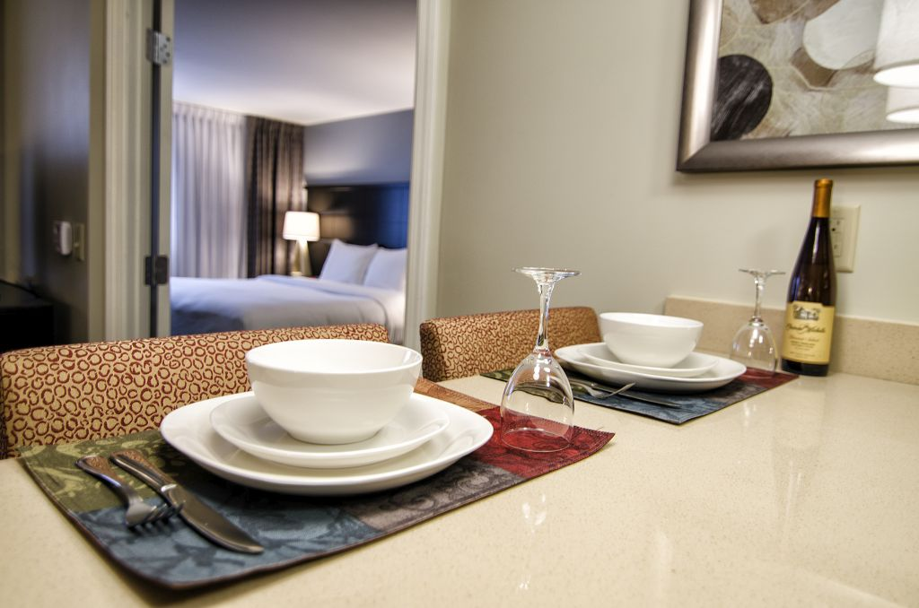 Staged Dining Room Set at the Staybridge Hotel.