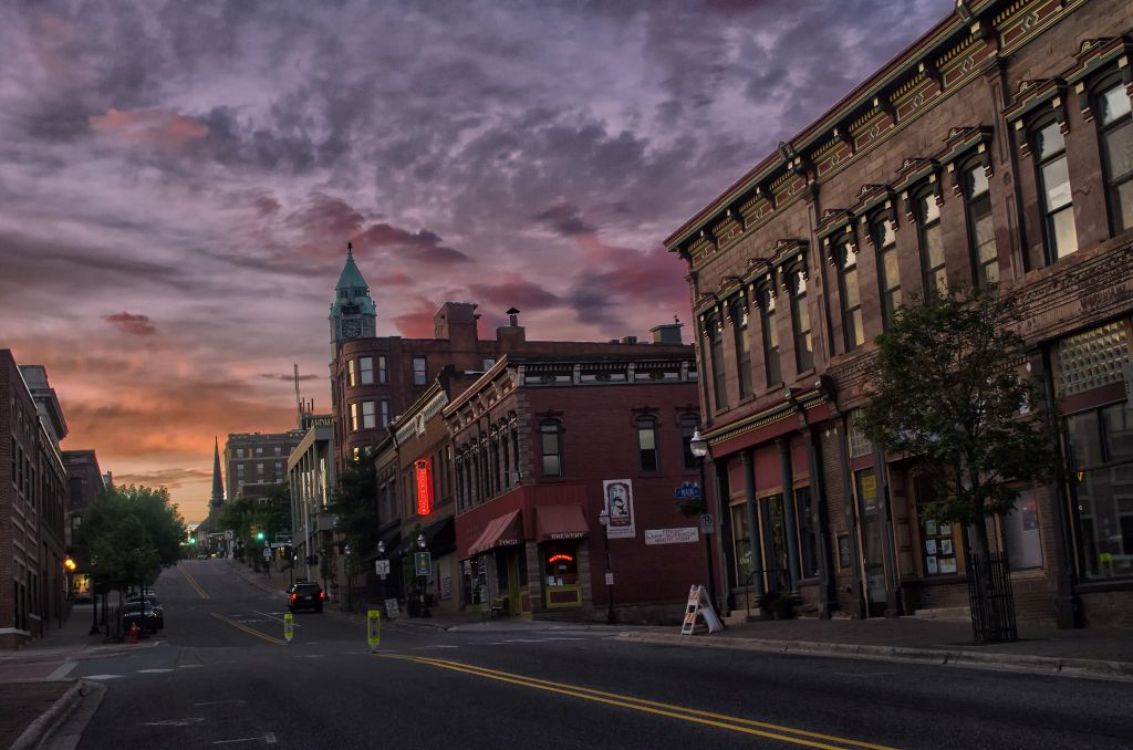 Sunset over Downtown Marquette