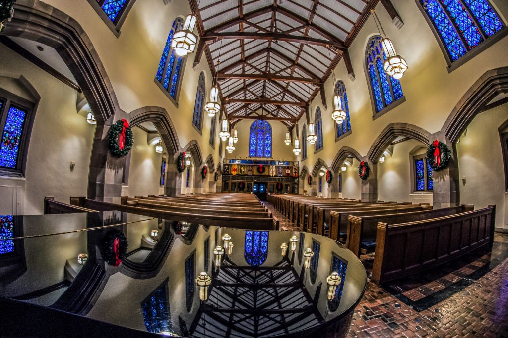 First Presbyterian Church in Marquette during the holidays.