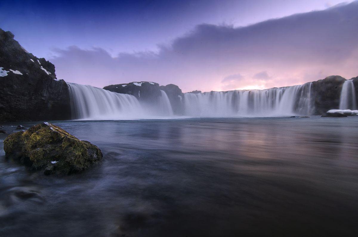 Sunset over Godafoss in Iceland.