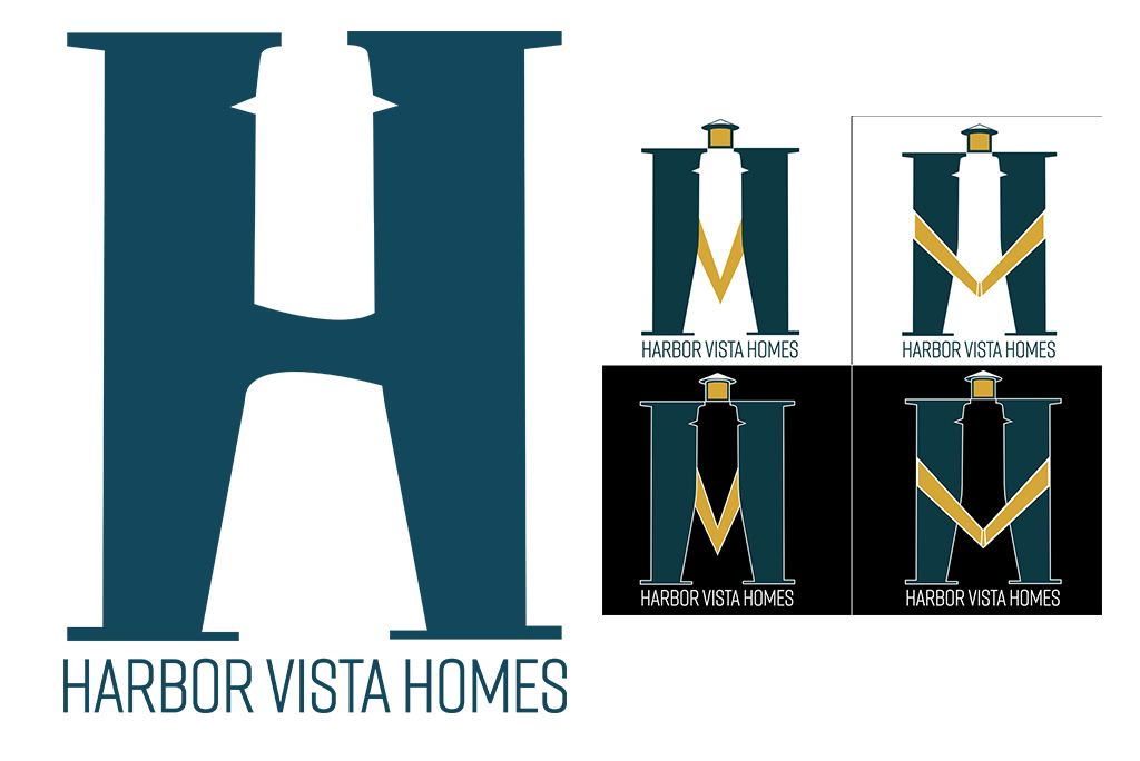 Some of the original logo mock ups for Harbor Vista.