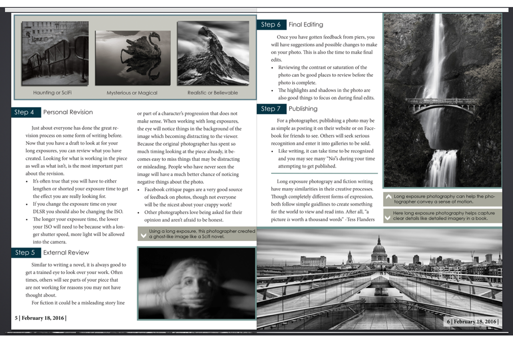 Page two of InDesign magainze spread for Creative Fiction Class