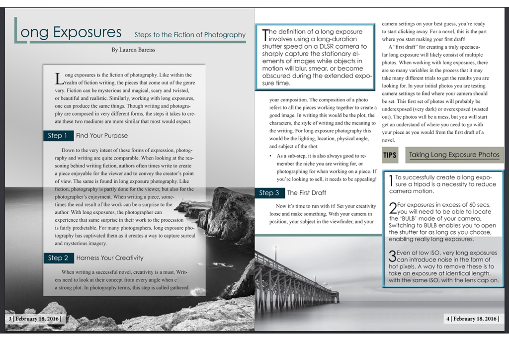 InDesign magainze spread for Creative Fiction Class