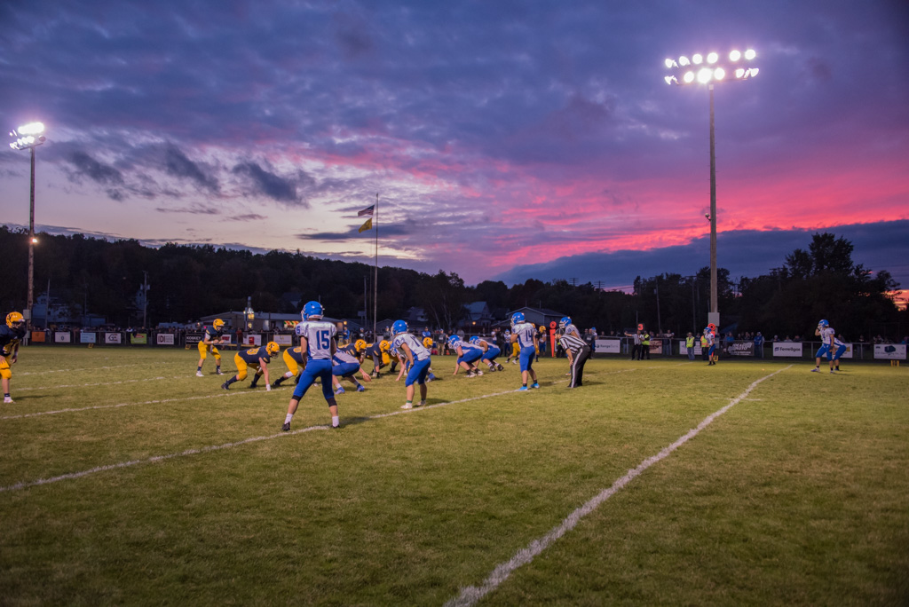 Sunset over the Ishpeming vs Negaunee Varsity Football Game - September 2019.