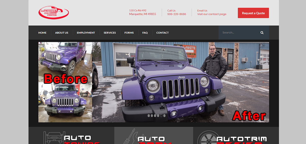 Updated website home page