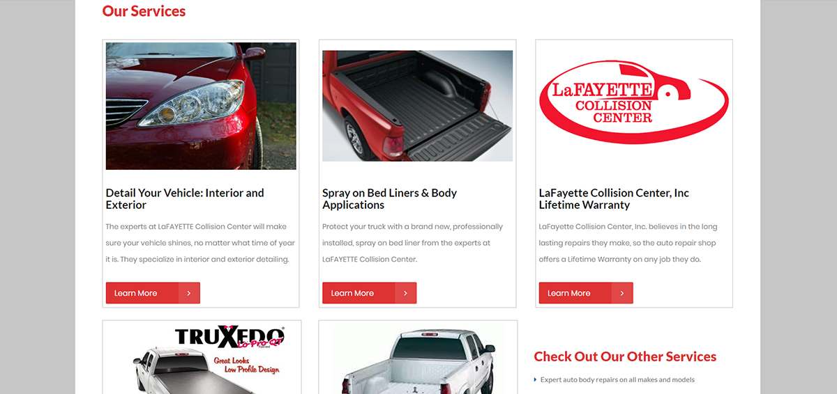 Rebuilt services page on new theme.