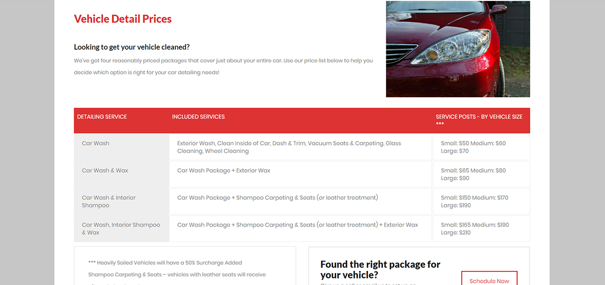 Updated Vehicle Service Page wit price table and details.