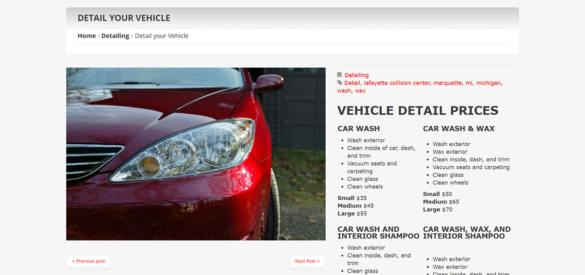 Vehicle Detailing Service Page