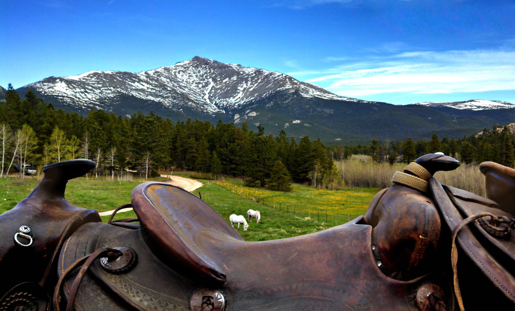 View of Mount Meeker from Lane Guest Ranch