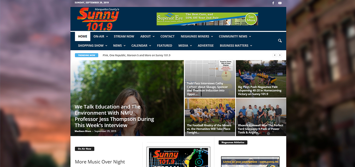 Marquette County's Sunny 101.9 Home Page Update