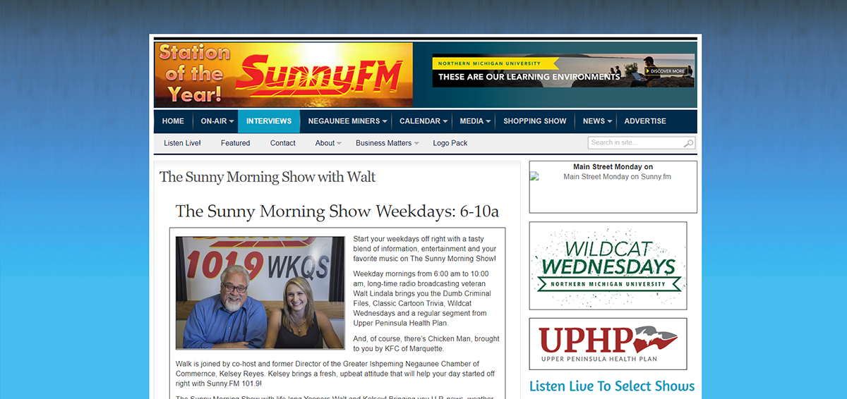 The old Sunny Morning Show DJ Page with Walt and Kelsey.