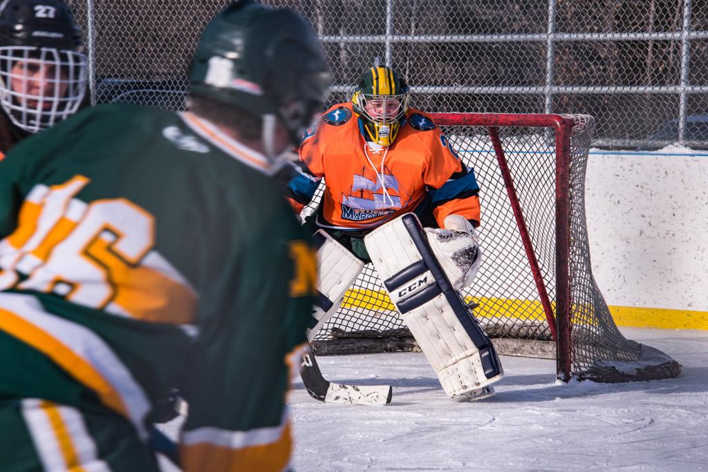 Marquette Mutineers goal during Mutineers/NMU Hockey game.