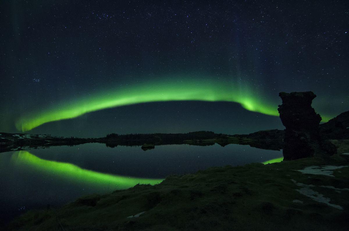 Northern Lights over Lake Myvatn in Iceland.