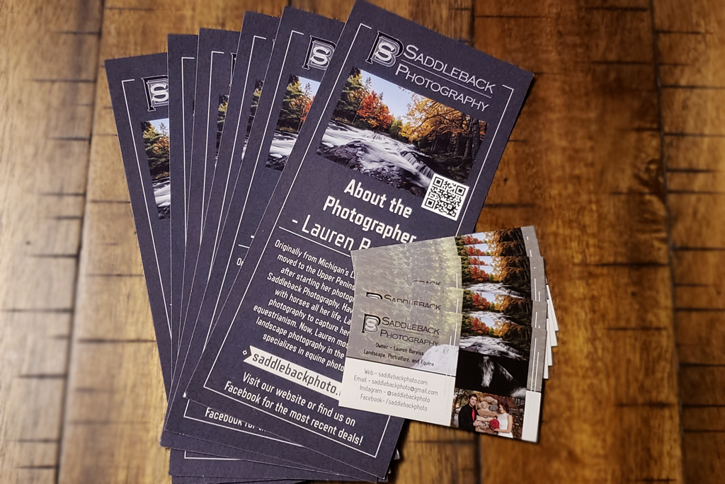 Saddleback Photography rack cards for the gallery and business cards.