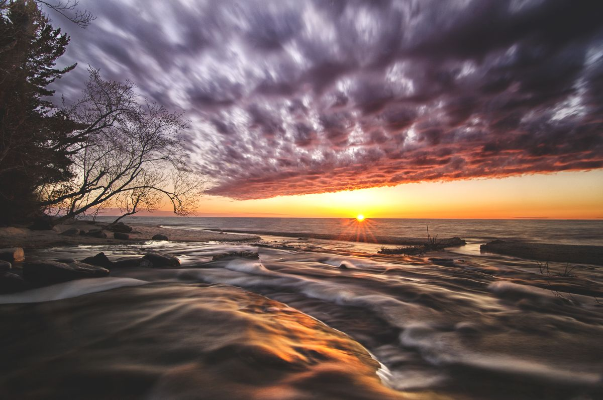 Sunset over Hurricane River and Lake Superior.