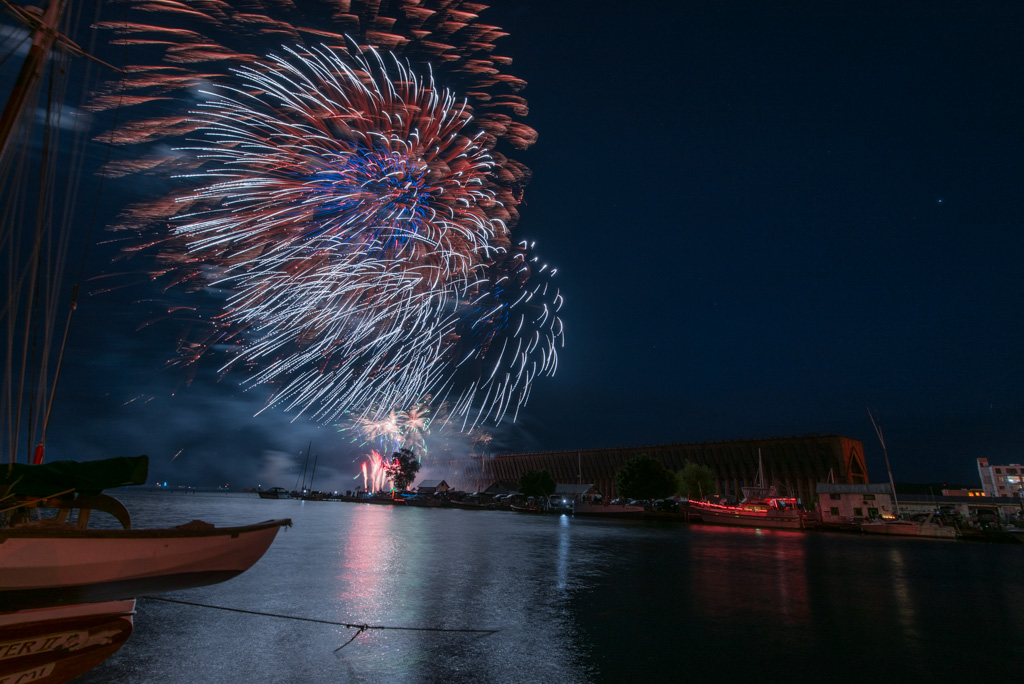 4th of July fireworks over Lake Superior in Marquette's Lower Harbor.