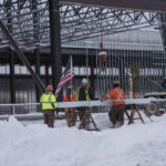 It is tradition to put a tree on the final beam during the raising.