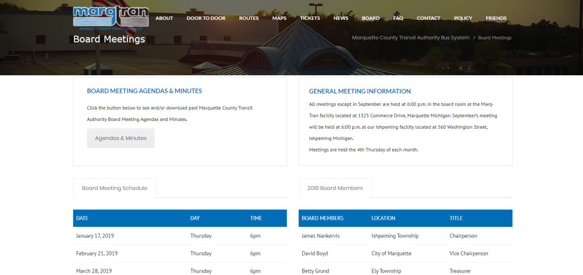 New Board Meetings & Agendas page