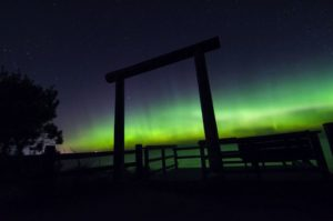 Northern Lights over Lake Superior on M-28 in Marquette.