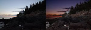 Before and After shot of Bar Harbor Head Lighthouse